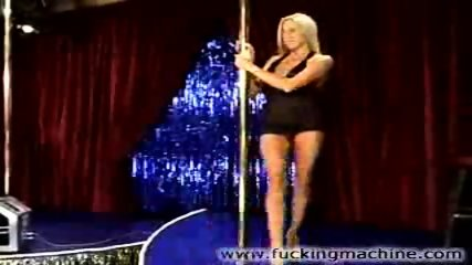 Hot blonde stripper dancing and toying