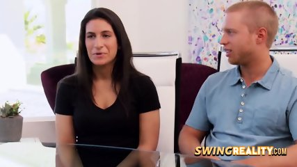 Unsure couple arrives to the swing mansion for a party like no other