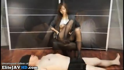 Japanese female boss pantyhose foot fetish