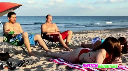 Beach time quickly turns into pussy action with each other s daddies