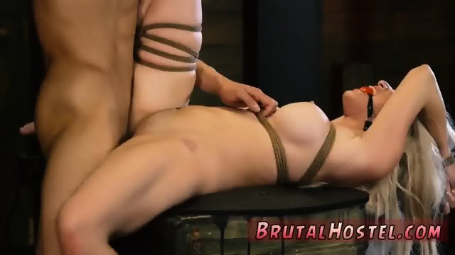 Locked in cage then bondage and mat