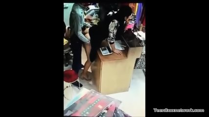 Chinese teen fucking crazy in shop
