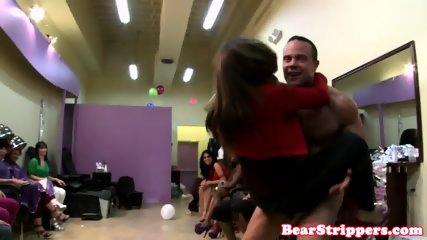 Ebony CFNM babe cocksucking her stripper