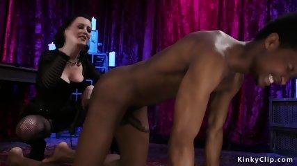 Mistress in fishnets anal fuck black sub