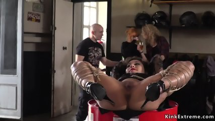 In bike shop slave fucked in public
