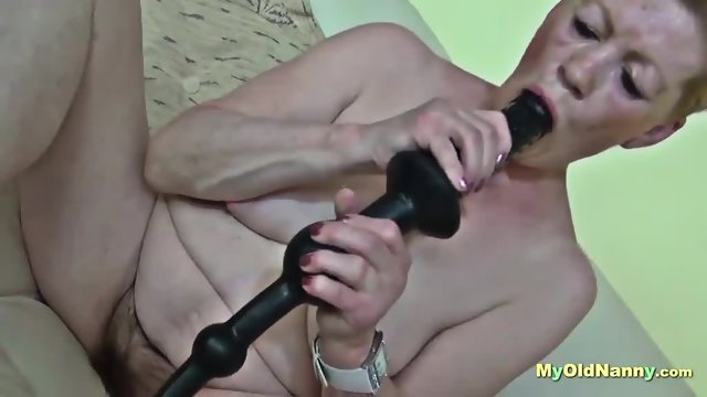 Alluring babe having sex with a granny