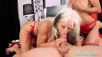 Mature ladies in a 3some with a guy