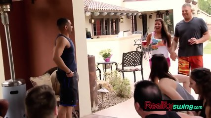 Loving husband declares his love to his wife at the swingers mansion