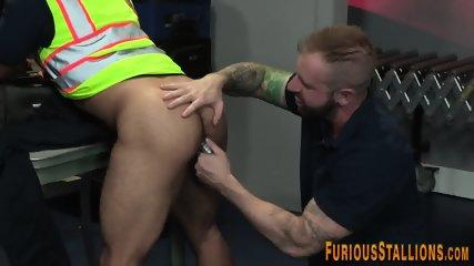 Toyed buff gay bear cums