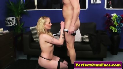 Cum loving brit babe cocksucking and tugging