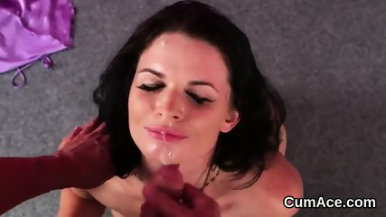 Slutty looker gets cum load on her face eating all the cream