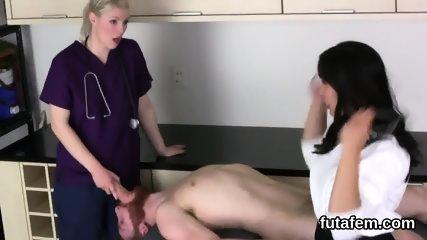 Teenies poke dudes anal hole with monster belt dicks and blast cum