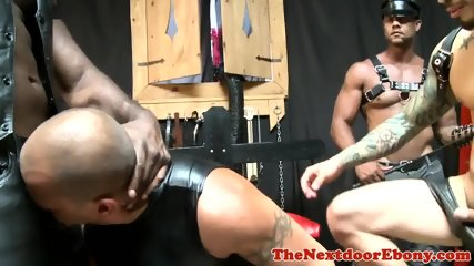 Sub cocksucks doms big cock before foursome