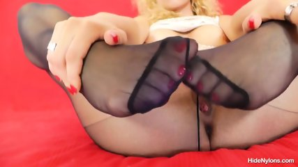 Sexy Blonde Plays With Pantyhose - scene 8