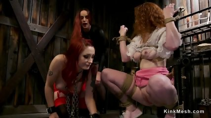 Lezdom threesome strap on cock anal