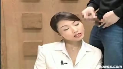 Japanese newscaster gets cummed on pt. 2