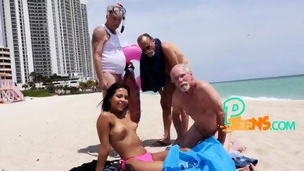 Old studs pick up Latina at beach
