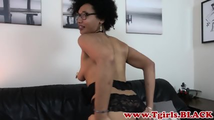 Busty ts amateur wanking on the couch