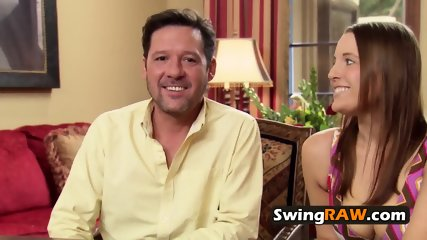 Hot redhead talks about her long time fantasies at swing party