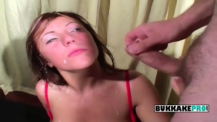 Becky gets down on her knees and gets a pretty big facial