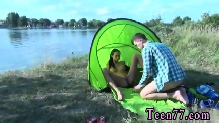 Teen rubbing pillow Eveline getting smashed on camping site
