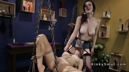Lesbian slave gets anal strap on fuck - scene 4
