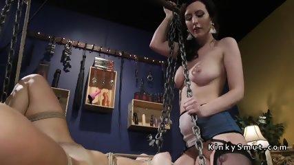 Lesbian slave gets anal strap on fuck - scene 7