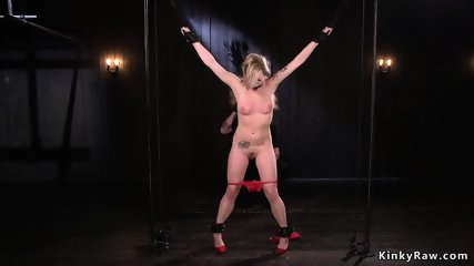 Bound and spreaded blonde whipped - scene 5