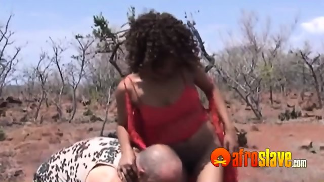 Slave masters get dicks sucked outdoors
