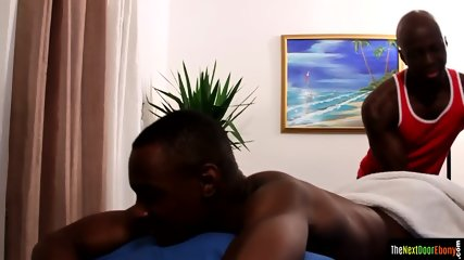 Massaged black muscle gets anally slammed