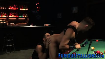 Ripped dude nailed in bar