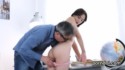 Lovely bookworm was seduced and penetrated by senior teacher