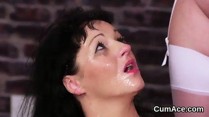 Slutty hottie gets jizz shot on her face swallowing all the semen