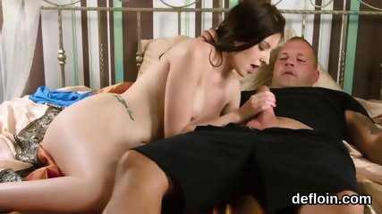 Elegant sweetie spreads wet pussy and gets deflorated