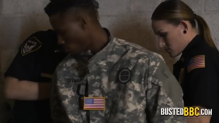 Perverted milf copa subdue smart ass fake soldier into banging
