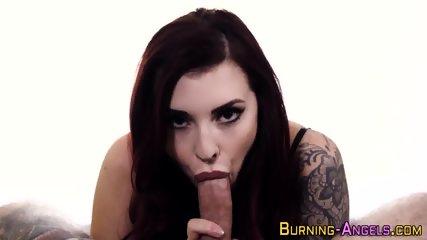 Tattooed emo babe gobbles - scene 3