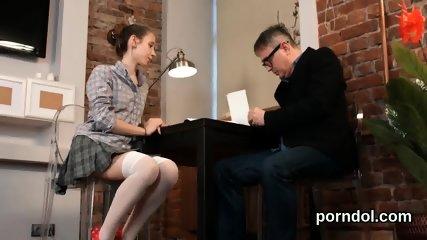 Fervent schoolgirl gets seduced and reamed by elderly teacher - scene 6