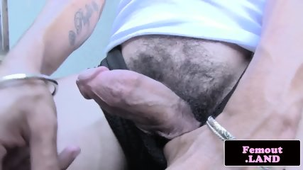 Gorgeous trap wanking her prick by the pool - scene 1