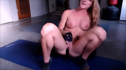 Perfect Body Ginger Deepthroating & Masturbate With Huge Dildo - scene 4