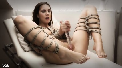 Tied Girl Plays With Dildo