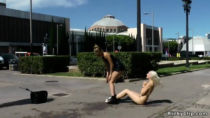 Naked blonde excercising in public streets