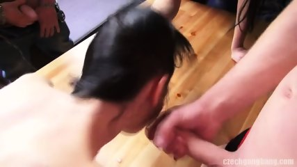 Amateur Brunette Gets Gang Banged - scene 9