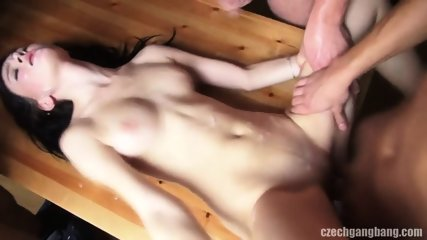 Amateur Brunette Gets Gang Banged - scene 12