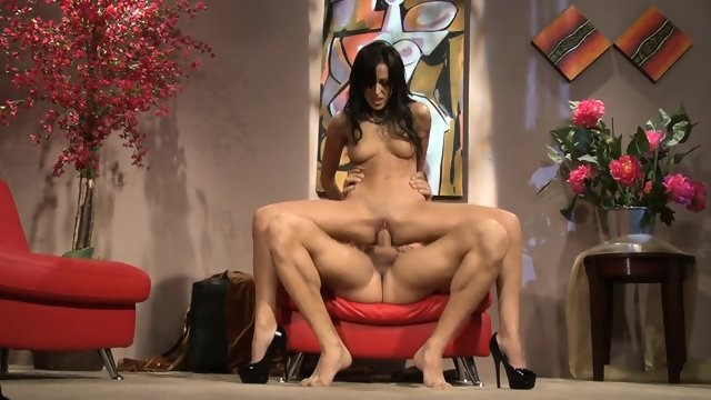 Woman With High-heels Rides On Dick