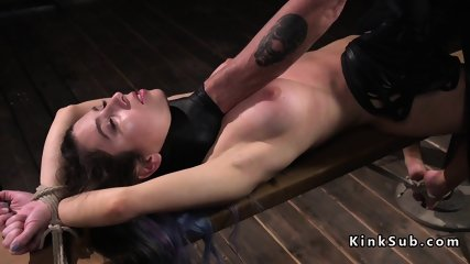 Hogtied hottie hard whipped in dungeon - scene 8