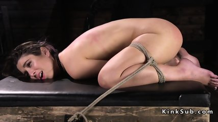 Hogtied hottie hard whipped in dungeon - scene 10