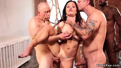 Big dick guys fucking babe in bondage