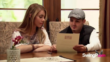 Wild couple reads the contract before enrolling in a swinger s weekend