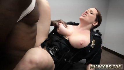 Black blow gangbang and ebony blowjob in salon Milf Cops