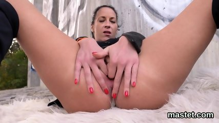 Spicy czech cutie spreads her slim vagina to the peculiar
